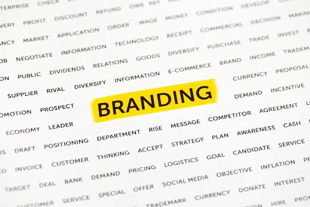 Le mot «branding» est mis en évidence avec un marqueur sur papier