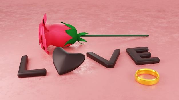 Mot de chocolat d'amour, rose et anneaux sur table rose pour la célébration de la saint-valentin heureuse en rendu 3d
