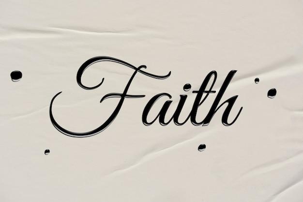 Mot de foi dans le style de calligraphie à l'encre