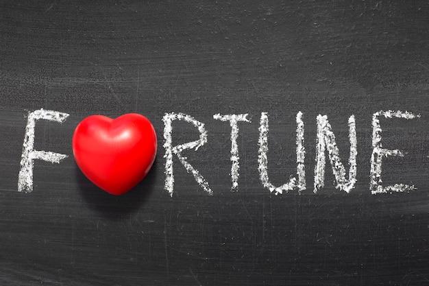 Mot de fortune écrit à la main sur le tableau avec le symbole du coeur au lieu de o