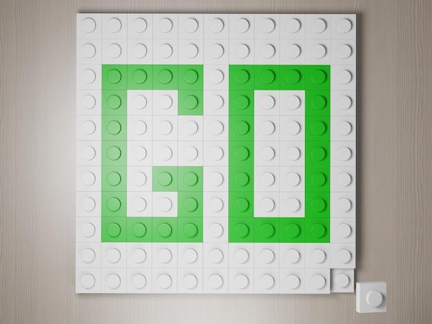 Le mot go fabriqué à partir de blocs le symbole va formé via des blocs lego verts rendu photoréaliste 3d