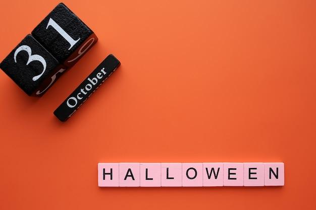 Mot halloween sur orange