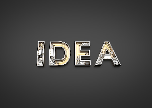 Mot d'idée fabriqué à partir de l'alphabet mécanique. illustration 3d