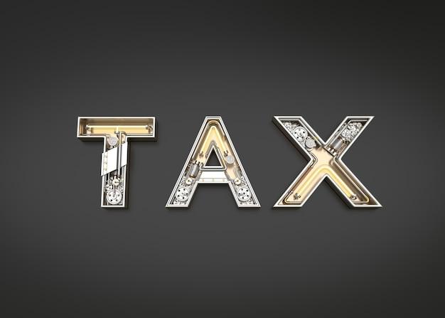 Mot d'impôt fait à partir de l'alphabet mécanique. illustration 3d
