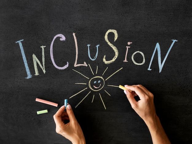 Mot d'inclusion écrit à la craie et soleil dessiné