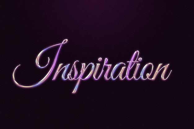 Mot d'inspiration dans un style chromé en relief coloré