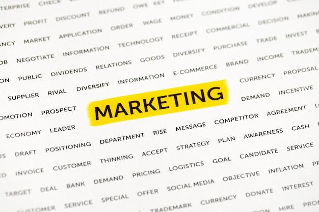Le mot «marketing» est mis en évidence avec un marqueur sur papier. concept d'entreprise, stratégie, planification, succès