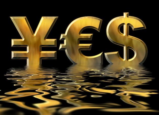 Mot oui écrit par des symboles d'or du yen, du dollar et de l'euro avec reflet de l'eau