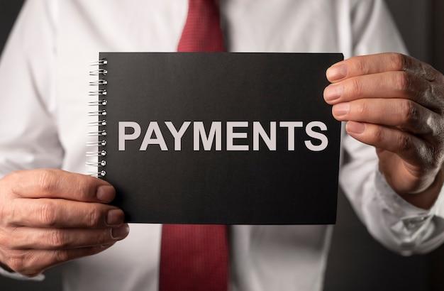 Mot de paiement, inscription sur ordinateur portable