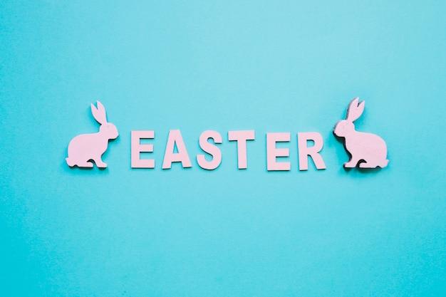Mot de pâques et petits lapins
