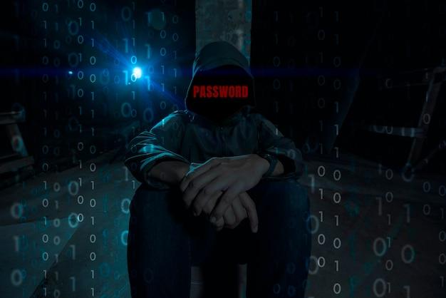 Le mot de passe du texte rouge du pirate informatique à capuchon web sombre