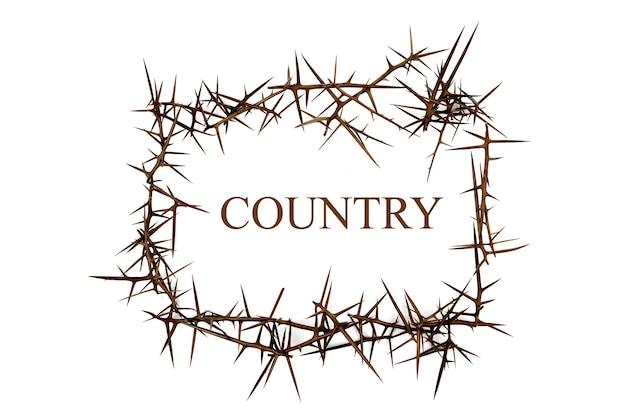 Le mot pays parmi les épines. le concept de la sécurité du pays.