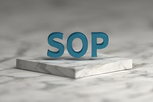 Mot de procédure opératoire standard sop avec une texture métallique brillante bleue sur un podium en marbre.