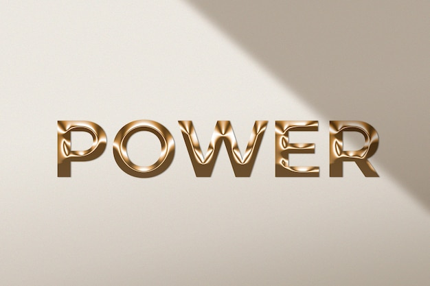 Mot de puissance dans le style d'or métallique