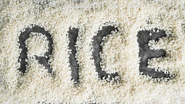 Mot riz écrit sur du riz blanc