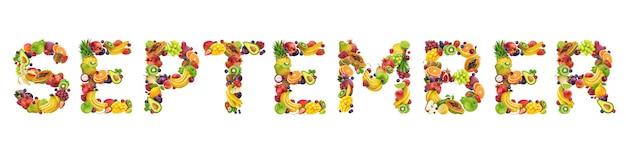 Mot de septembre fait de fruits tropicaux et exotiques