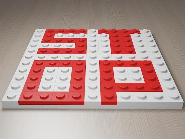 Le mot stop fabriqué à partir de blocs de rendu photoréaliste 3d lego puzzle