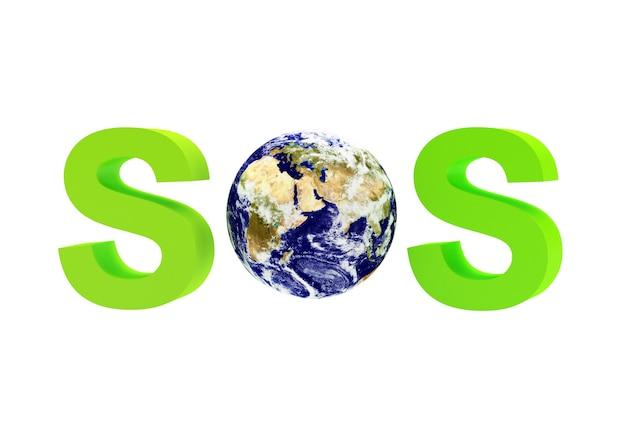 Mot vert sos avec la planète terre.