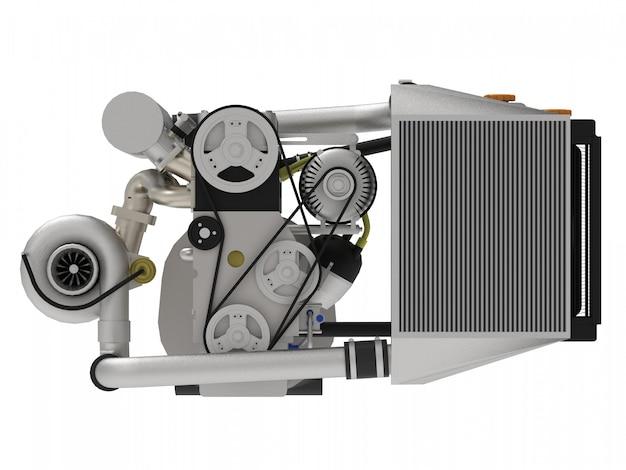 Un moteur à quatre cylindres turbo hautes performances pour une voiture de sport. rendu 3d.