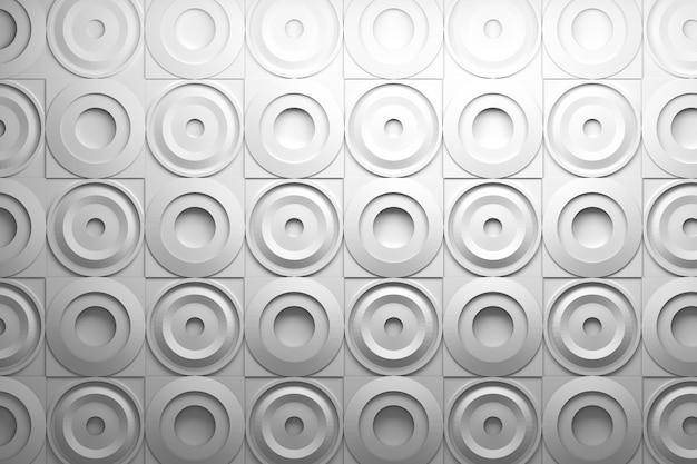 Motif 3d avec des carrés et des formes rondes circulaires ondulées