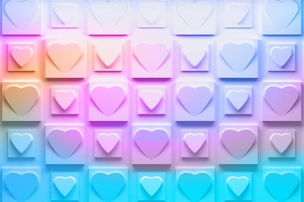 Motif 3dd avec répétition de carreaux carrés avec coeurs
