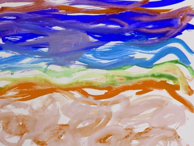 Motif abstrait à l'aquarelle de traits et de lignes, avec des coups de pinceau épais et de fines rayures dessinées à la main