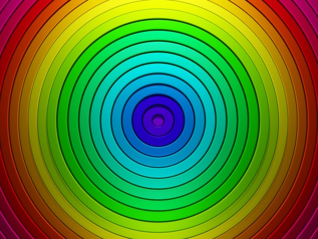 Motif abstrait de cercles avec effet de déplacement anneaux colorés fond arc-en-ciel