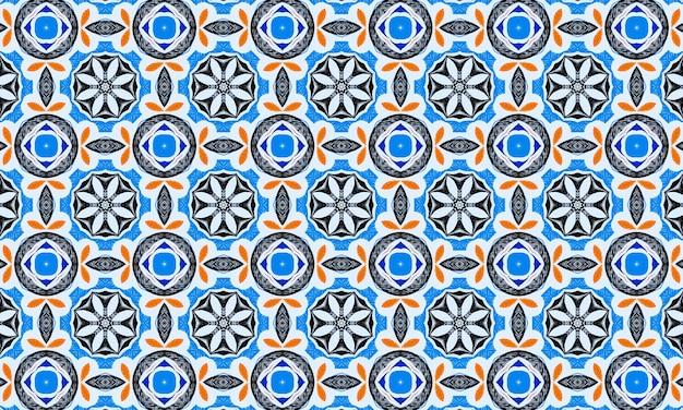 Motif Abstrait Géométrique Bleu. Fond De Mosaïque Colorée Photo Premium