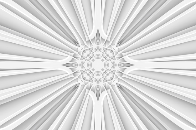 Motif abstrait de toile d'araignée allongée blanche, motif symétrique étiré. motif 3d