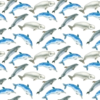 Motif aquarelle de baleines