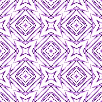 Motif aquarelle chevron. conception d'été boho chic formidable violet. bordure aquarelle chevron géométrique vert. imprimé classique prêt pour le textile, tissu de maillot de bain, papier peint, emballage.