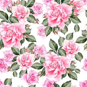 Motif aquarelle avec des fleurs de pivoine et des roses. illustration