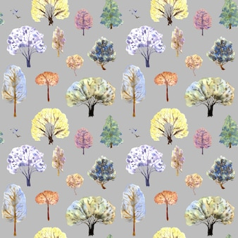 Motif d'arbres d'hiver sur fond gris illustration aquarelle dessinée à la main couvertures de cartes