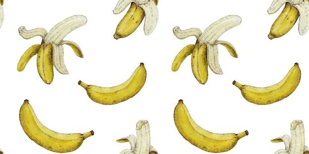 Motif de banane transparente sur fond blanc