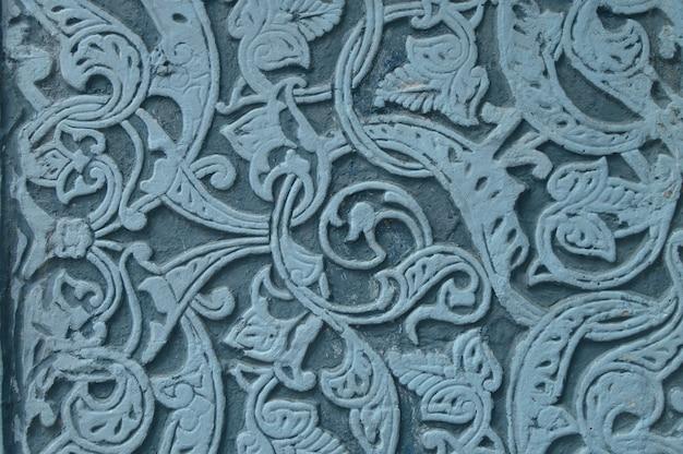 Motif bleu ornement en marbre décoratif authentique sur pierre