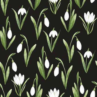 Motif botanique sans couture avec des fleurs de perce-neige dessin à l'aquarelle à la main