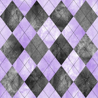 Motif à carreaux sans couture argyle. fond de texture violet gris noir aquarelle dessinés à la main. fond de formes de diamant aquarelle. imprimez pour la conception de tissu, le textile, le tissu, le papier peint, l'emballage, la tuile.