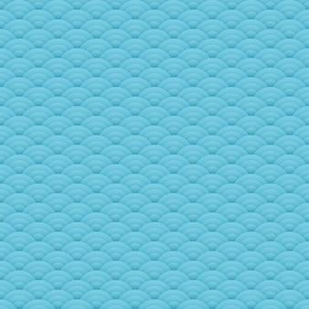 Motif de cercles sans couture bleu asiatique, ornement japonais