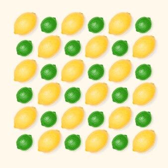 Motif citron et citron vert sur fond clair. concept d'été minimal. mise à plat.