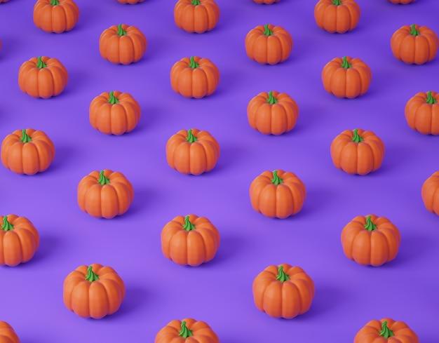 Motif de citrouille en rendu 3d. illustration numérique de vacances halloween.