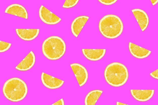 Motif coloré cramoisi de tranches de citron