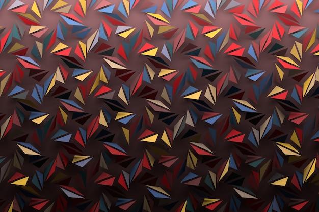 Motif coloré fait de répétitions de formes géométriques triangulaires brisées