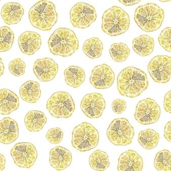 Motif dessiné à la main à l'aquarelle transparente avec des citrons jaunes motif demi-citron sur fond blanc