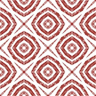 Motif dessiné à la main à rayures. fond de kaléidoscope symétrique rouge vin. répétition de carreaux dessinés à la main à rayures. imprimé élégant prêt pour le textile, tissu de maillot de bain, papier peint, emballage.