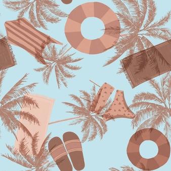 Motif d'été à carreler sans couture dans des tons nude