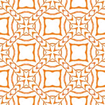 Motif ethnique peint à la main. design d'été chic et bohème orange avenant. imprimé indélébile prêt pour le textile, tissu de maillot de bain, papier peint, emballage. motif de bordure ethnique d'été aquarelle.