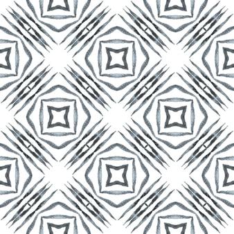 Motif ethnique peint à la main. magnifique design d'été boho chic en noir et blanc. impression unique prête pour le textile, tissu de maillot de bain, papier peint, emballage. motif de bordure ethnique d'été aquarelle.