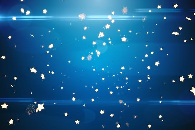 Motif étoiles brillantes sur bleu
