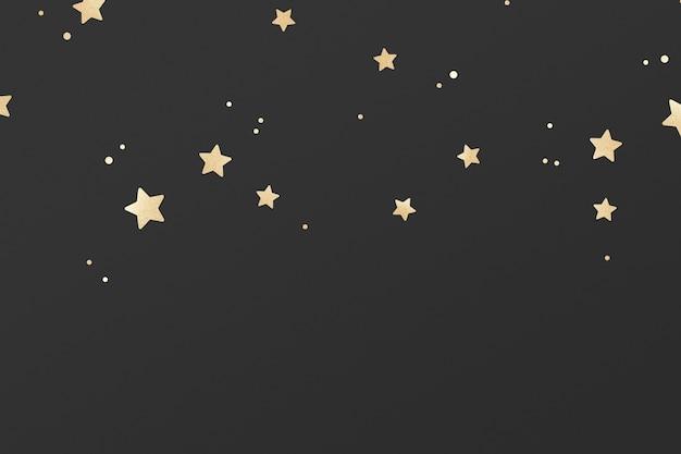 Motif d'étoiles chatoyantes dorées sur fond noir
