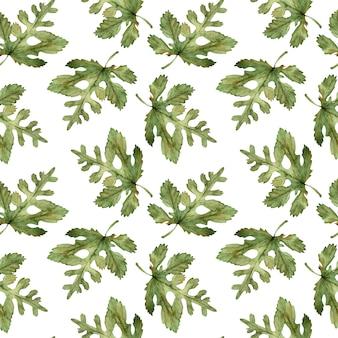 Motif de feuilles d'automne vert aquarelle